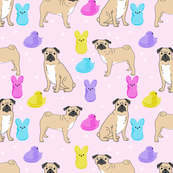 pug marshmallow easter spring dog breed gifts for pug lovers fabric purple