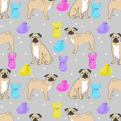 pug marshmallow easter spring dog breed gifts for pug lovers fabric grey
