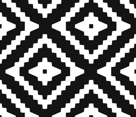 Boho Aztec Black & White fabric by mintedtulip on Spoonflower - custom fabric