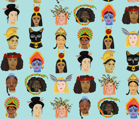 Goddesses Around the World fabric by dasbrooklyn on Spoonflower - custom fabric