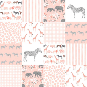 safari quilt pink and grey animals nursery cute cheater quilt wholecloth