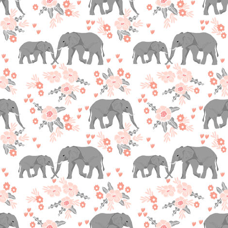 safari quilt elephants with florals animals nursery cute coordinate  fabric by charlottewinter on Spoonflower - custom fabric