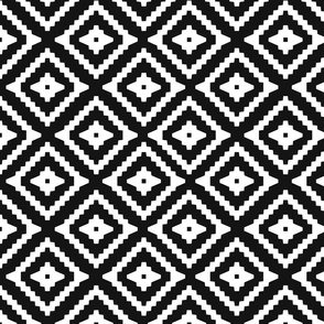 Boho Aztec Black & White {half size}
