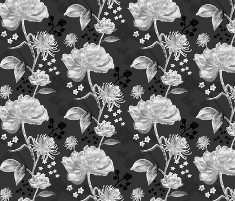Monochrome Floral fabric by sophie_louise_designs on Spoonflower - custom fabric