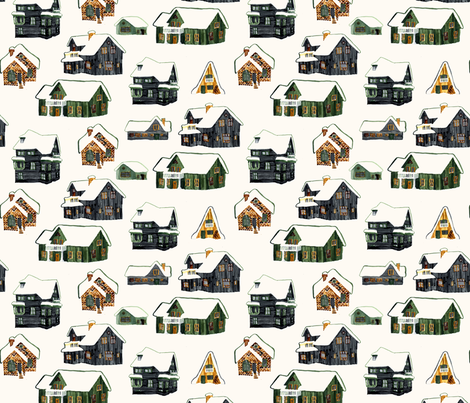 Little Snowy Farmhouses fabric by jinjer on Spoonflower - custom fabric