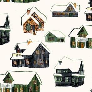 Little Snowy Farmhouses
