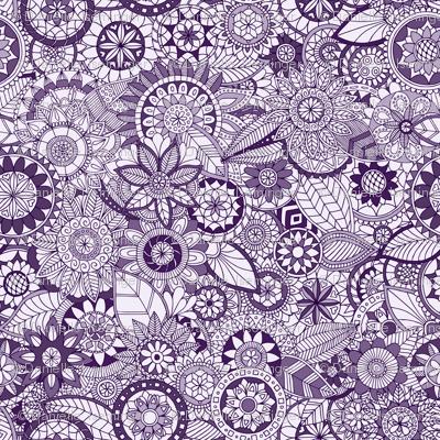 Monochrome Doodle Garden - purple
