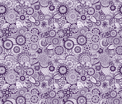 Monochrome Doodle Garden - purple fabric by diseminger on Spoonflower - custom fabric