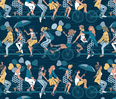 Sisterly riding the world together // yellow details version fabric by selmacardoso on Spoonflower - custom fabric