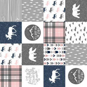 Fearfully and Wonderfully Made Patchwork Fabric || Navy, Pink, Grey (90)