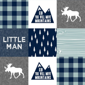 Little Man & You Will Move Mountains Quilt Top - navy and dusty blue