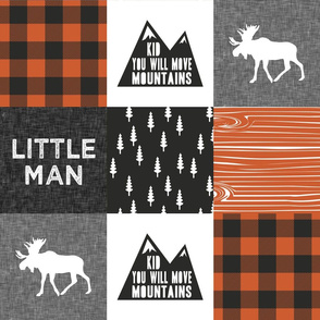 Little Man & You Will Move Mountains Quilt Top - orange