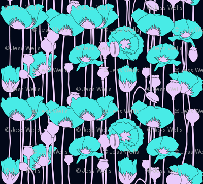 poppies in teal on navy