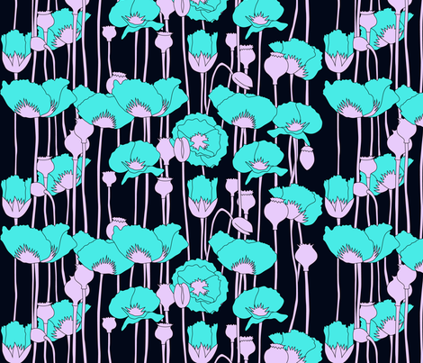 poppies in teal on navy fabric by eleventy-five on Spoonflower - custom fabric