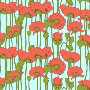 poppies in coral on light turquoise