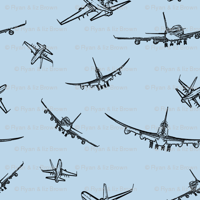 Plane Sketches on #BAD6E9 // Small