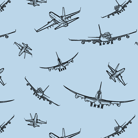 Plane Sketches on #BAD6E9 // Small fabric by thinlinetextiles on Spoonflower - custom fabric