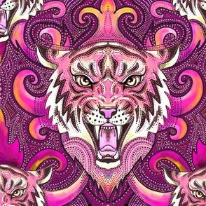 Pink tiger damask