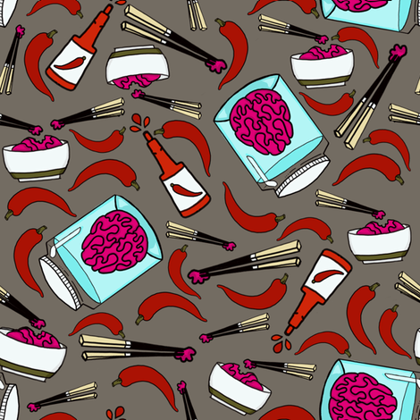 zombies like it hot toss-warm grey-L fabric by stellarevolutiondesigns on Spoonflower - custom fabric