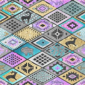 Southwestern patchwork with deers, buffalo