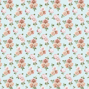 Vintage Rose Floral on duck egg blue - tiny