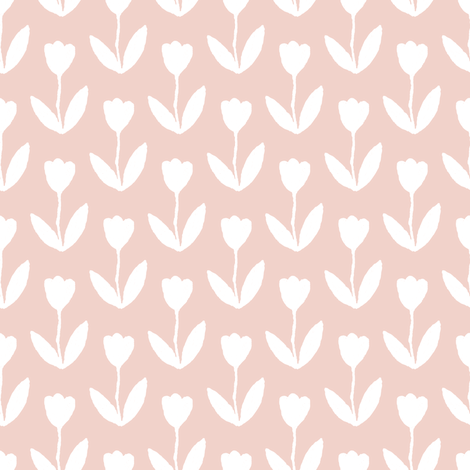 White Tulips on Pink fabric by looshdesign on Spoonflower - custom fabric