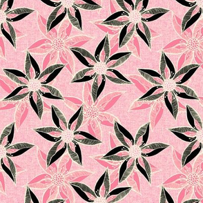 Love Blooms at Dawn (#7) -Rosy Pink on Magnolia Cream Linen Texture with Lolly Pink and Black - Medium Scale