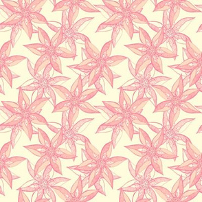 Love Blooms at Dawn (#8) - Dawn Mist on Magnolia Cream with Rosy Pink - Small Scale