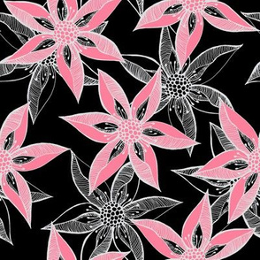 Love Blooms at Dawn (#3) - Rosy Pink on Black with Silver Mist - Large Scale
