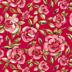 Pink roses on  red