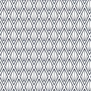 Deco Diamonds- Navy on White- Midsized