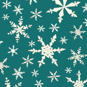 Snowflakes  -Ivory, Bright Teal