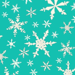 Snowflakes - Ivory, Bright Turquoise