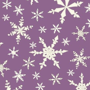 Snowflakes - Ivory, Grape