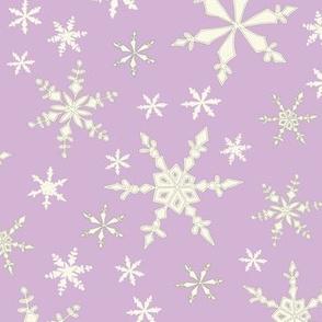 Snowflakes - Ivory, Lavendar