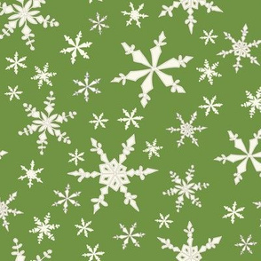 Snowflakes - Ivory, Lime
