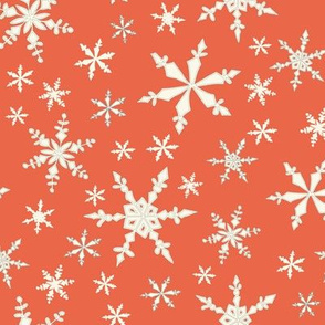 Snowflakes - Ivory, Persimmon