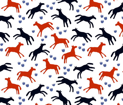 Horses running free fabric by janetdrummond on Spoonflower - custom fabric