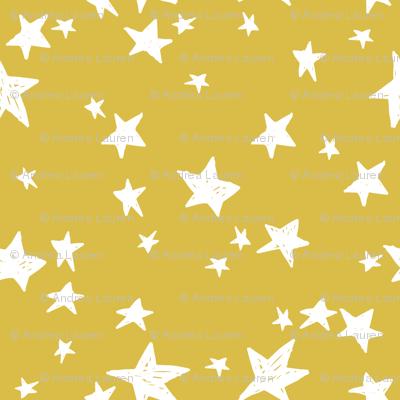 stars // mustard yellow star fabric andrea lauren design scandi design - small