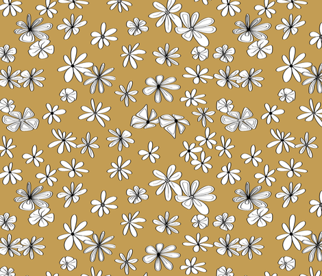Flowers on Gold fabric by house_of_heasman on Spoonflower - custom fabric