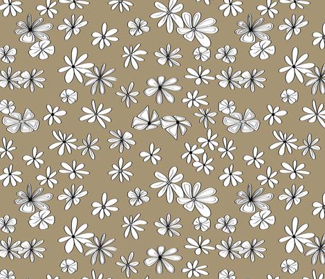 Dark Gold flower fabric fabric by house_of_heasman on Spoonflower - custom fabric