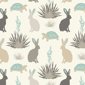 Tortoise & Hare - Small - Aqua, Ivory