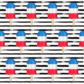 "2"" Patriotic Popsicles // Black and White Stripes"