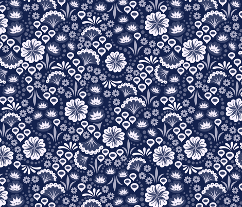 Navy Monochrome Floral fabric by dearchickie on Spoonflower - custom fabric