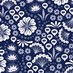 Navy Monochrome Floral