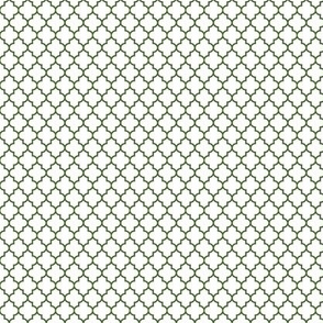 quatrefoil hunter green on white - small