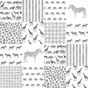 safari quilt cheater quilt animal nursery grey and white gender neutral wholecloth