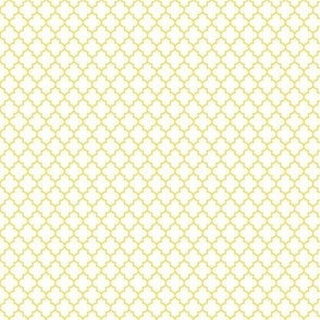 quatrefoil butter yellow on white - small