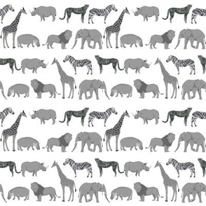safari quilt coordinate animals rhino elephant giraffe grey and white
