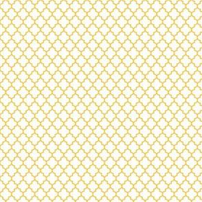 quatrefoil golden honey on white - small